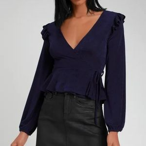 LULUS RADIANT RUFFLES NAVY BLUE WRAP TOP L
